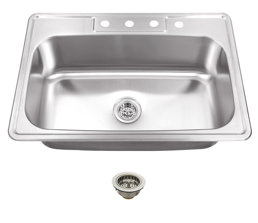 MSDP3322SBP 33-in x 22-in 20 Gauge Stainless Steel Single Bowl Kitchen Sink with Drain Assemblies