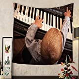 Evelyn C. Connor Custom?tapestry happy childhood and music little boy child kid playing on the black digital midi keyboard piano
