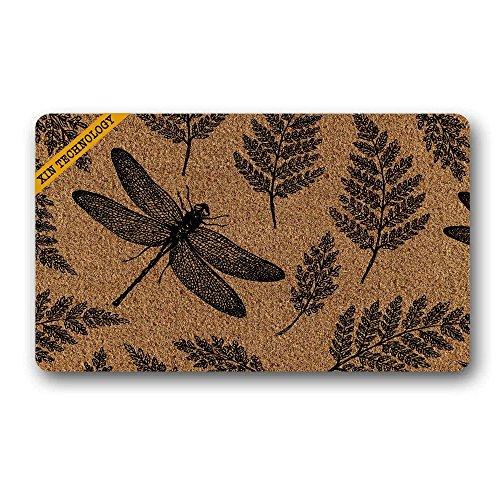 jiajufushi Leaf Dragonfly Pattern Durable Rubber Non-Slip Doormat Entrance Rug Floor Mat Home Indoor Mats