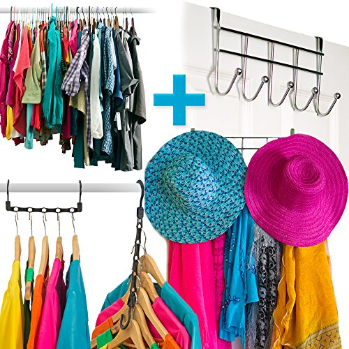 Amazing Space Saving Hangers Closet Organizer (10 Pack) PLUS A Chrome 5 Hook Over The Door Hanger Rack - Organise Bedroom, Bathroom, Closets - Hang Shirts, Coats, Towels, Robes, Hats