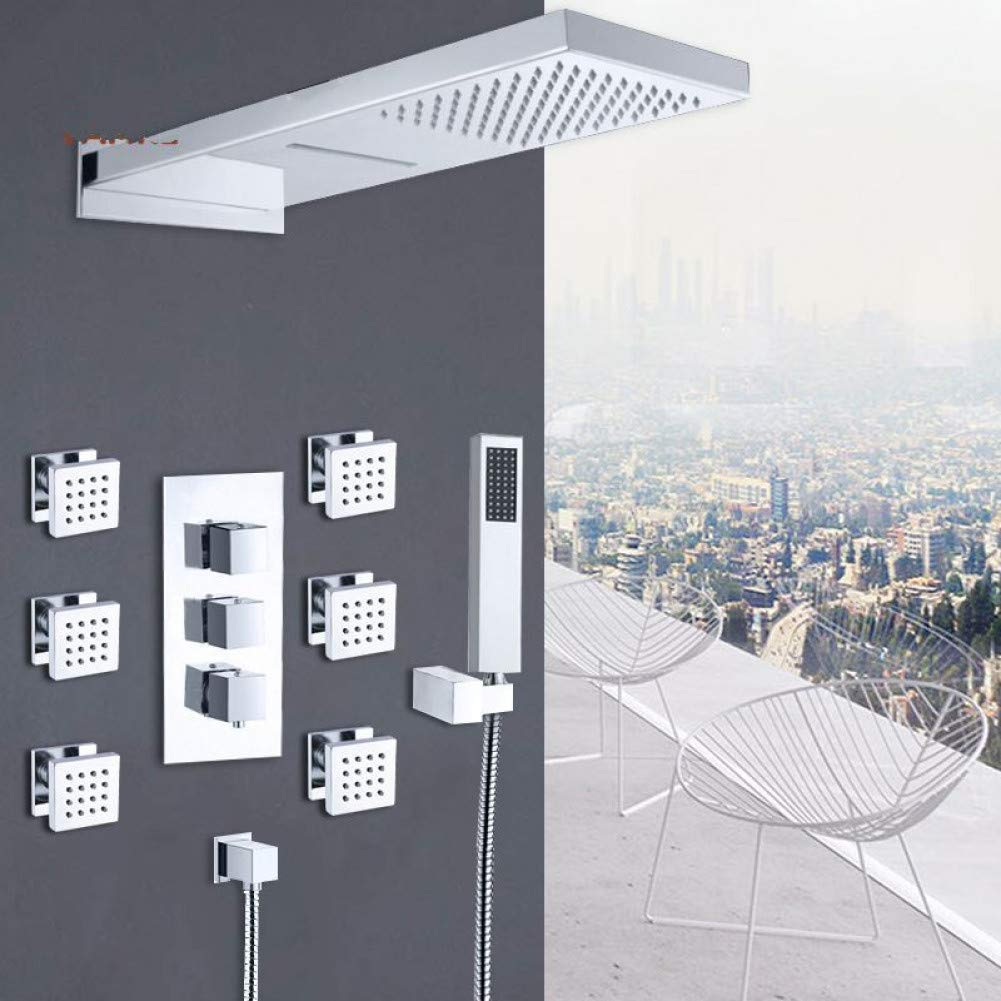 QKEMM Rubinetti per Doccia termostatici cromati Set Doccia a Cascata a Pioggia Getti Spa Kit per Doccia con Miscelatore termostatico a 4 Vie