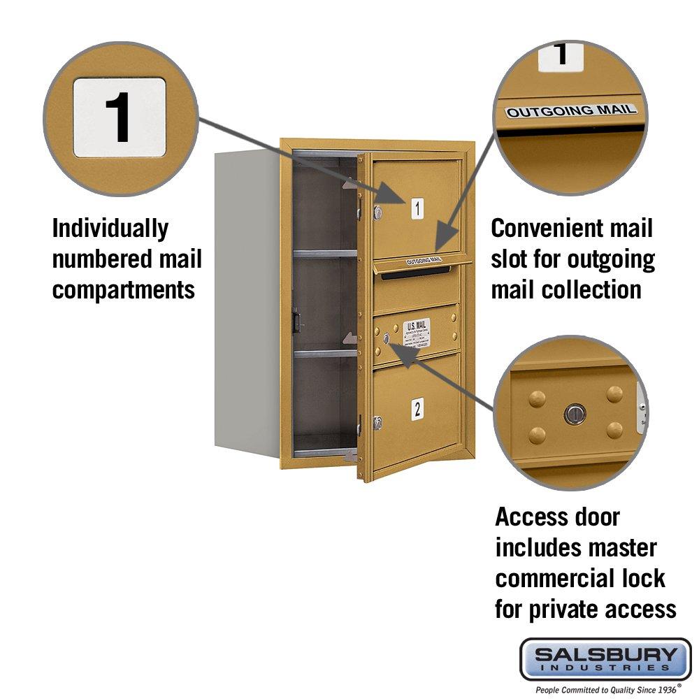 Gold Salsbury Industries 3706S-02GFP 4C Horizontal Mailbox