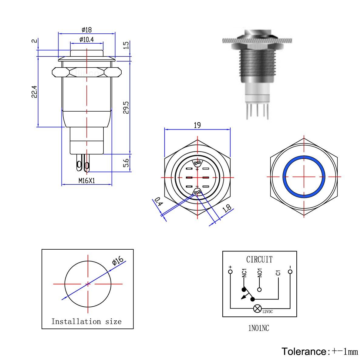 Ulincos U16c2 Latching Metal Pushbutton Switch Push Button Power Circuit Industrial Scientific