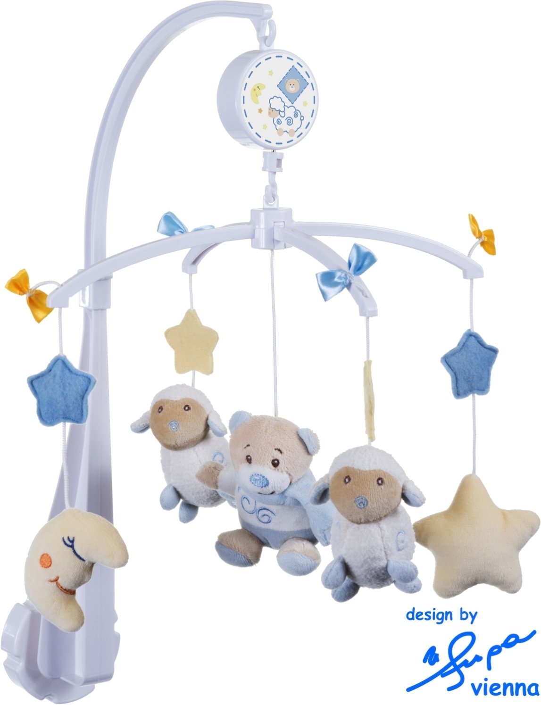 02014044 BIECO Baby Soft Musik Mobile B/är Bubu aus weichem Pl/üsch erfreut und beruhigt Blickfang am Kinderbett Wickeltisch oder am Spielbogen