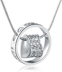 """MARENJA-Mother's Day Gifts Women's Fashion Necklace-Heart&Ring Pendant Engraved """"I Love You Mom""""-White Gold Plated Crystal Jewelry Gifts for Mom"""