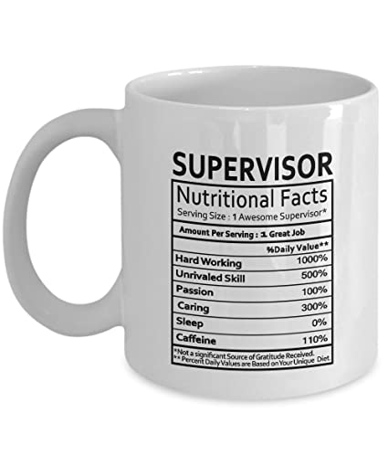 supervisor coffee mug supervisor gifts supervisor nutritional facts label gag gifts for christmas