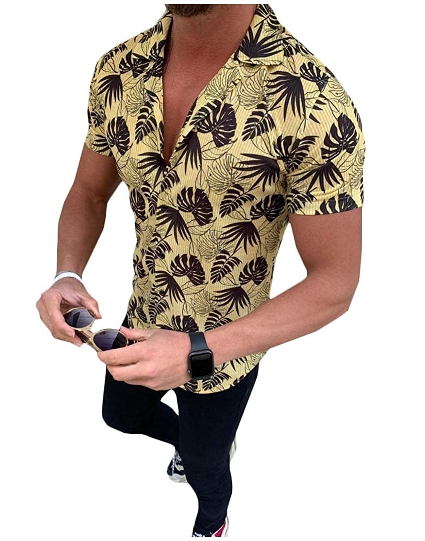 Vska Mens Hawaiian Short-Sleeve Silm Fit Beachwear Turn Down Collar Shirt