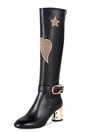 Nine Seven Genuine Leather Women's Round Toe Exquisite Heel Embroidery Buckle Knee High Handmade Boot (6.5, black)
