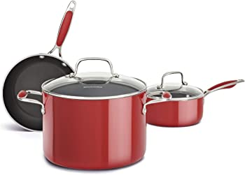 KitchenAid KCAS05AER Aluminum Nonstick 5-Piece Cookware Set