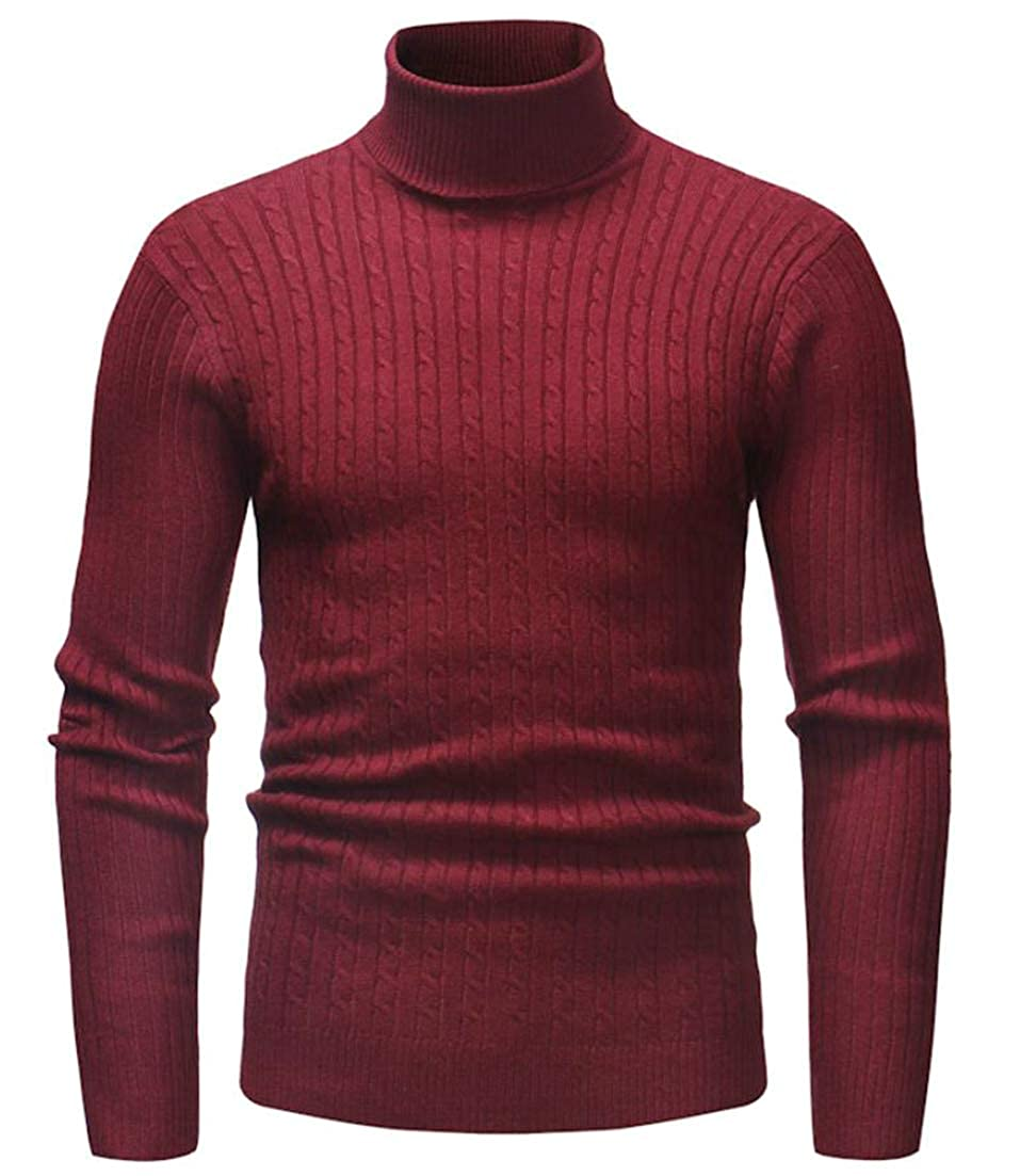 Etecredpow Men Vogue Tops Turtleneck Long Sleeve Knitting Sweaters