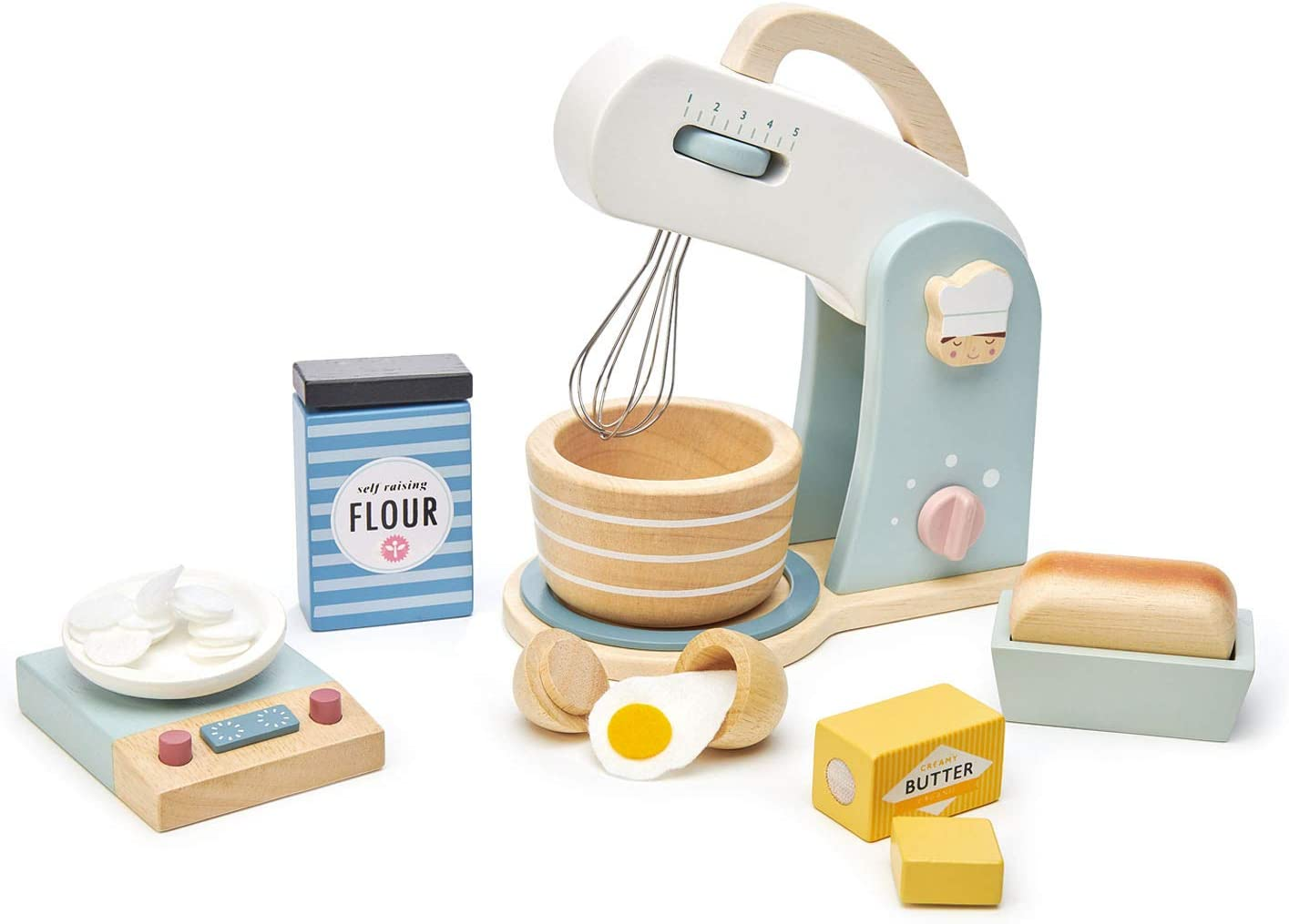 Tender Leaf Toys Mini Chef Home Baking Set – 27 Pc Wooden Baker's Mixing Set -Classic Toy for Pretend Cooking – Develops Social, Creative & Imaginative Skills – Learning Role Play – Ages 3+ Years