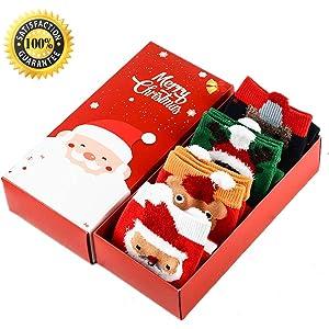 Morbuy Calcetines de Navidad, Set de calcetín de 4 pares Caja De Regalo Para Mujer