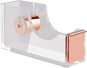 KIDMEN Office Tape Dispenser,Transparent Acrylic Tape Dispenser-Rose Gold