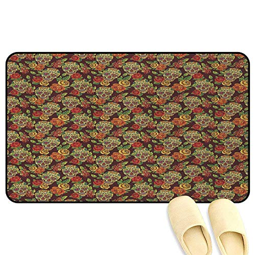 (homecoco Sugar Skull Bathroom Mats Rubber Non Slip Autumn Colored Flowers and Leaves Patterns in Smily Head Bones Light Green Yellow Orange Rubber Front Entrance Outside Doormat W47 x L59)