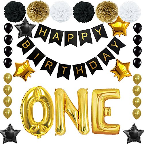 Happy 1st Birthday Banner Ballons Set for One Years Old Birthday Party Decoration Supplies Gold Black (One)