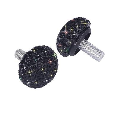 Bling Crystal Rhinestone Screw Caps Covers + Rust Resistant Stainless Steel Screws Fasteners for License Plate Frame (Black): Industrial & Scientific