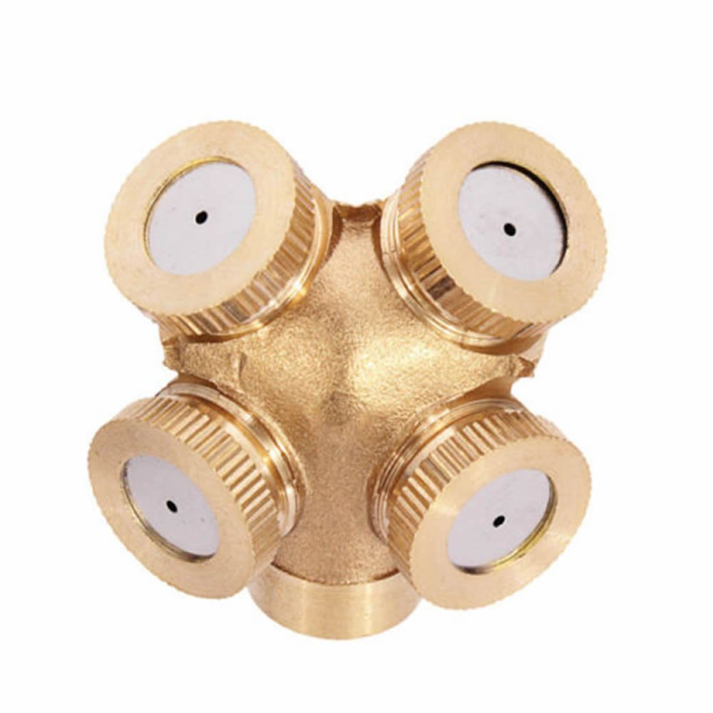 GOOTRADES 4 Hole Brass Spray Nozzle Garden Sprinklers Irrigation Fitting Water Connector (pack of 2)