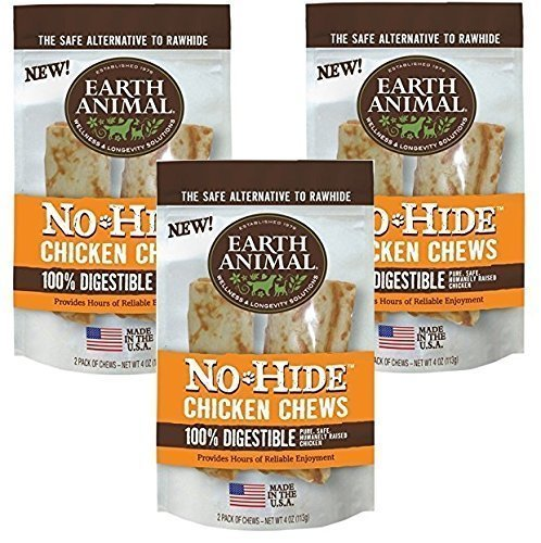 Earth Animal No-Hide Chk Chw 4 Inches - 6 Total(3 Packs with 2 per Pack) by Earth Animal