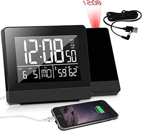 Geevon Projection Alarm Clock Indoor Thermometer Hygrometer Dual Alarm with USB Phone Charger