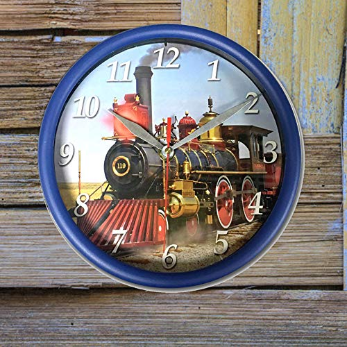 "Train Sound Wall Clock 8"" Round Train Art with Light"