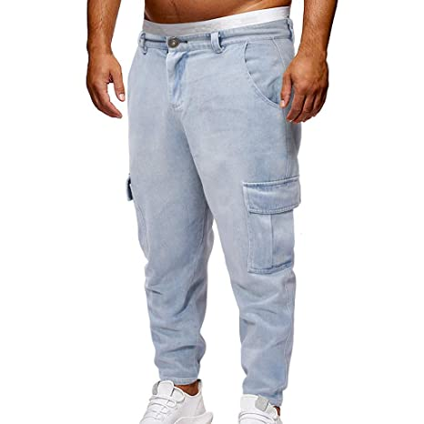 44ac6e8005f Amazon.com  Men Casual Plus Size Long Pants Comfort Baggy Elastic Waist  Drawstring Sweatpants Sport Jogging Casual Loose Trousers  Toys   Games