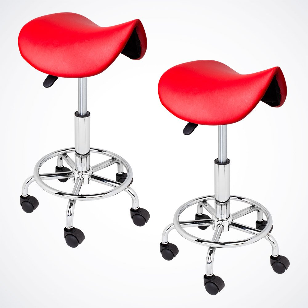 GotHobby 2x Red Salon Stool Hydraulic Chair Tattoo Facial Beauty Spa Massage Clinic Doctor