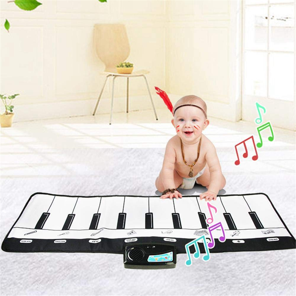 TEEPAO Giant Piano Music Mat, Black White Floor Keyboard Playmat Electronic Dance Mat Music Carpet for Kids Toddlers Children, 8 Selectable Musical Instruments, 10 Sounds - 43'' 14'' by TEEPAO (Image #9)