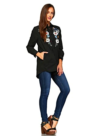 94f2fb9f5e9 Velzera Women s Bohemian Floral Embroidered Shirt Plus Size at ...