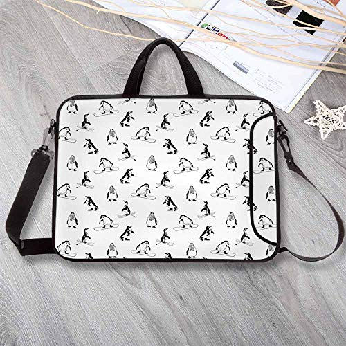 Kids Lightweight Neoprene Laptop Bag,Skiing Penguins on Snowboards Winter Sports Themed Pattern Fun Animal Bird with Scarf Laptop Bag for Laptop Tablet PC,15.4