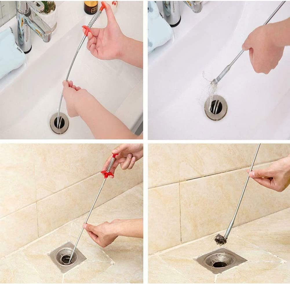 Multifunctional Cleaning Claw,Spring Pipe Dredging Tool,Drain Snake Bendable Hair Drain Clog Remover Cleaning Tool for Kitchen Sink Toilet Bathtub 0.9m