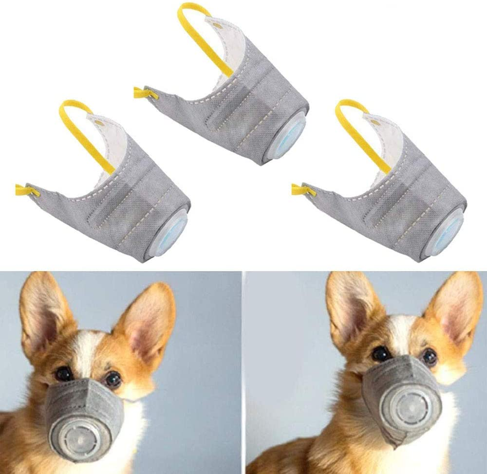 PeSandy Adjustable Dog Respirator Mask, 3 PCS Breathable Dog Protective Mask for Small to Large Dogs Filter Air Pollutants Anti Fog/Anti Dust/Anti Secondhand Smoke, Pet Respirator Muzzle
