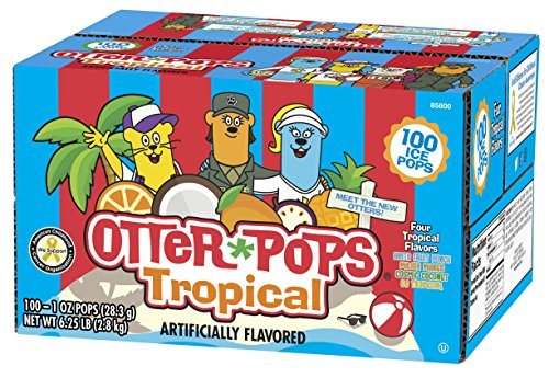 Otter Pops Tropical Ice Pops – Gluten and Fat Free Ice Pops, Delicious Tropical Frozen Treats Include New Fruit Punch, Pineapple, Coconut, and Mango Flavors, 100 Count of 1 oz. Pops