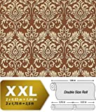 Baroque royal damask wallpaper wall EDEM 981-46 luxury heavyweight non-woven fawn brown cigar brown gold 26,5 sqm 114 sq ft