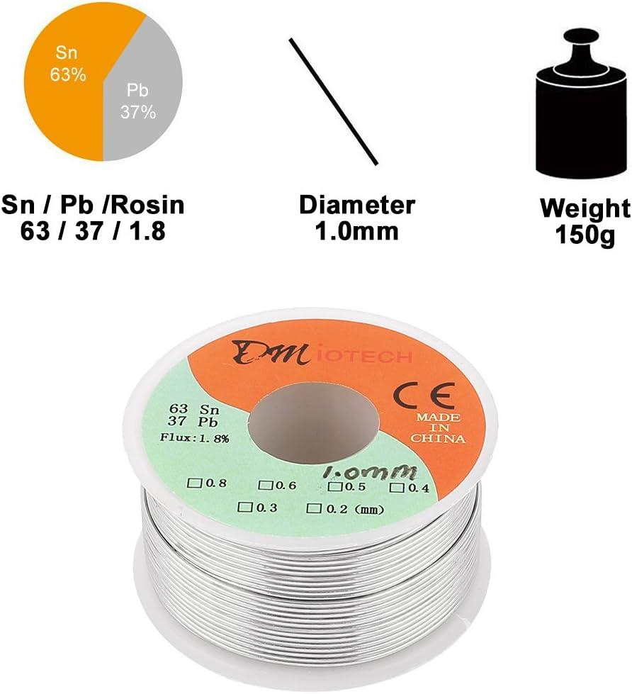 Carrete de Alambre de Soldadura de Plomo 0.8mm Estaño 50 gramos de Colofonia Núcleo Soldadura 63//37 Estaño Plomo Flux