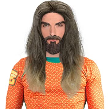 Long Brown Cosplay Wig-Ombre Men Synthetic Wavy Anime Role Play Wigs for Party Costume Halloween