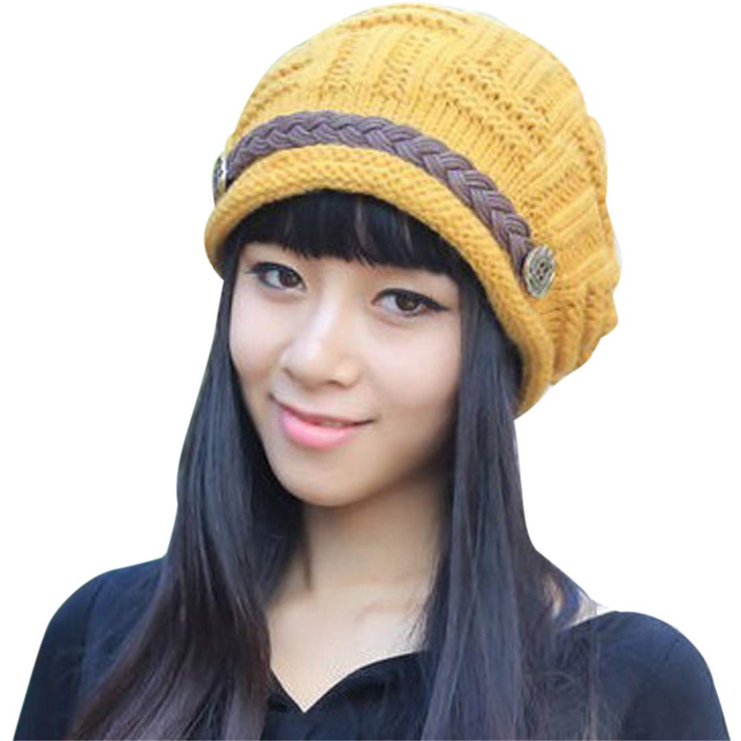 Warm Women Hats Manual Wool Knitted Earmuffs Girls Caps Thick Crimping Strap Female Cap Female Hats Autumn Winter Yellow by Morussnta