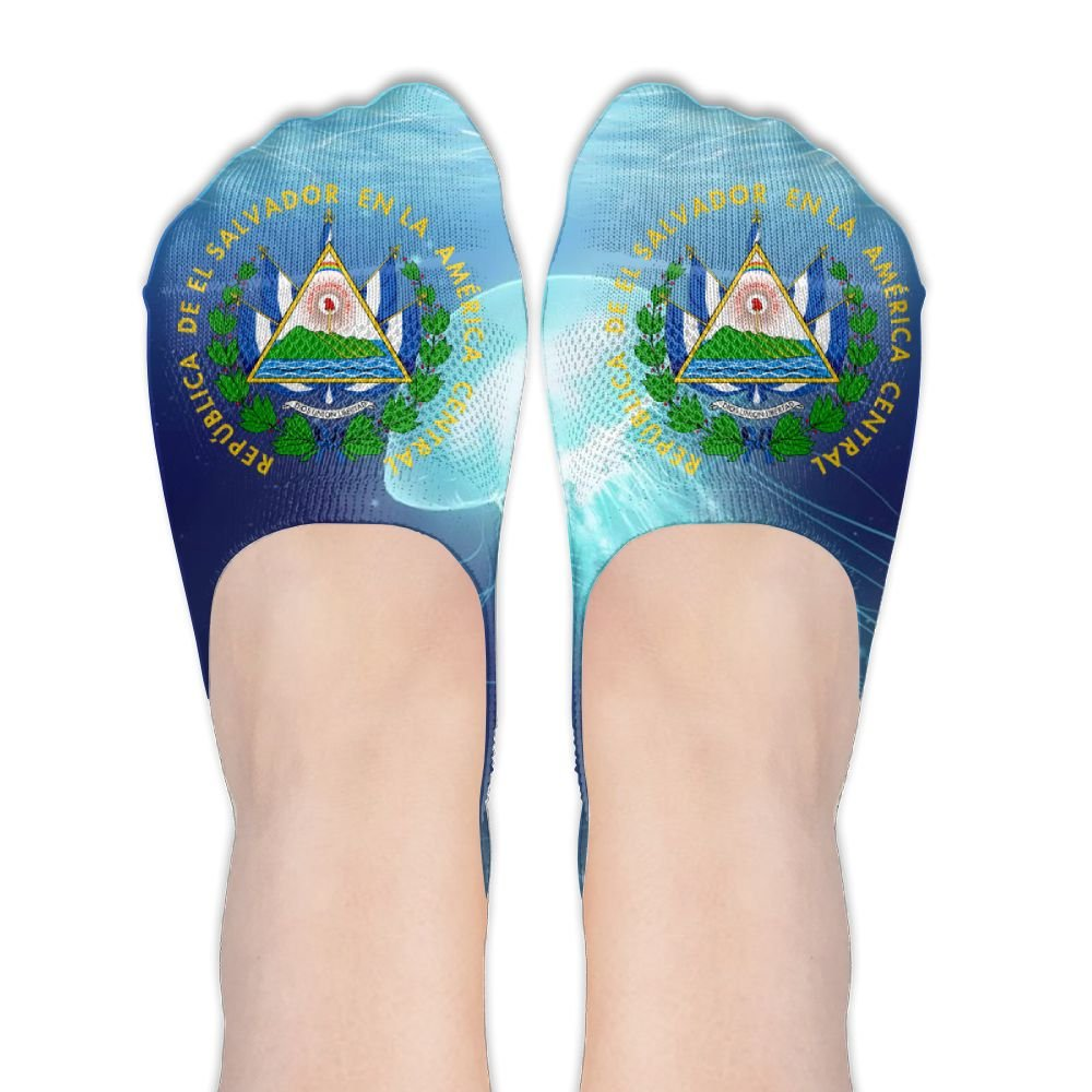 El Salvador Coat Of Arms Women's Thin Casual No Show Socks Non Slip Flat Boat Line