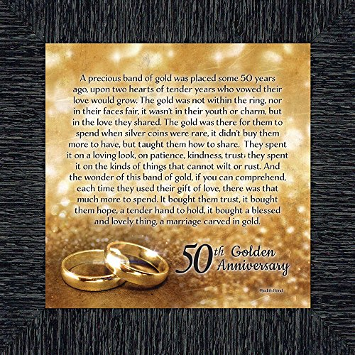Elegantly Yours Bands of Gold, 50th Wedding Anniversary Gift Picture Frame, 10x10 8608CH (Band Porcelain Gold)