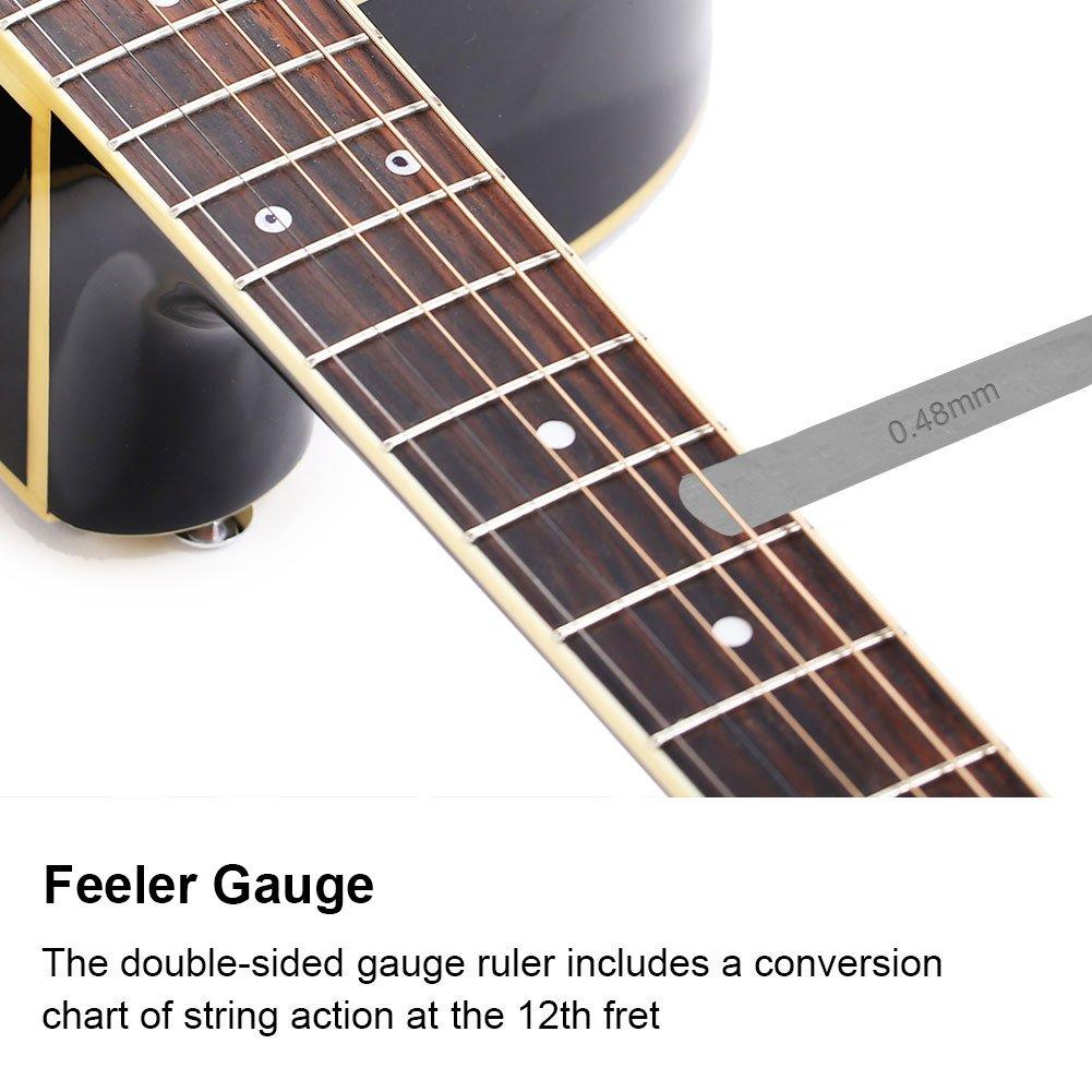 Regla de acci/ón de cuerda de guitarra 32 calibre de espesores Balde con protector de agarre de diapas/ón para guitarrista