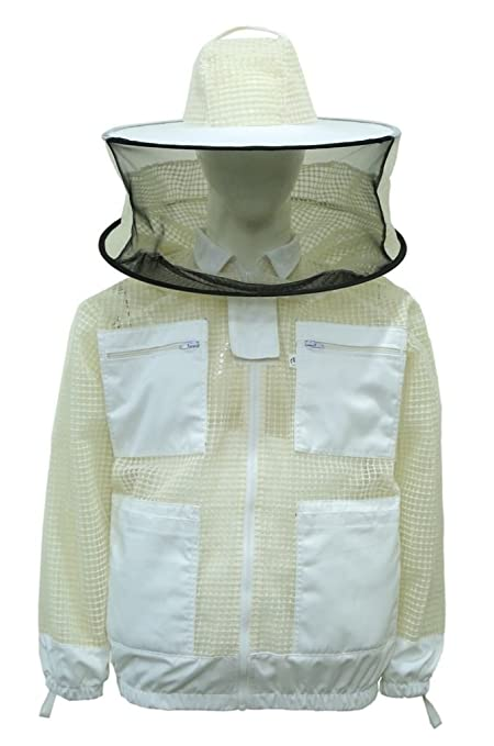 3XL Premium Professional 3 Layer Ultra Ventilated beekeeping jacket Round veil