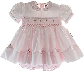 97dea5e72df8 Baby Girls Pink Portrait Dress with Collar Friedknit by Feltman