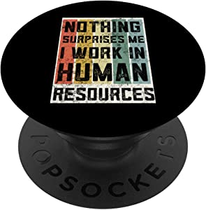 Retro Human Resources Gifts Hero Funny HR Gifts For Coworker PopSockets PopGrip: Swappable Grip for Phones & Tablets