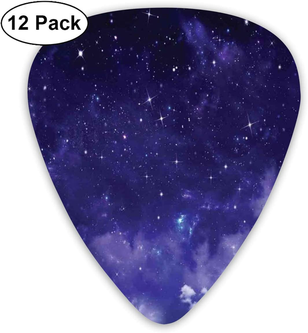 Guitar Picks12pcs Plectrum (0.46mm-0.96mm), Dreamy Night With Stars Clouds Comets Ethereal Evening Surreal Calm Scene Picture,For Your Guitar or Ukulele