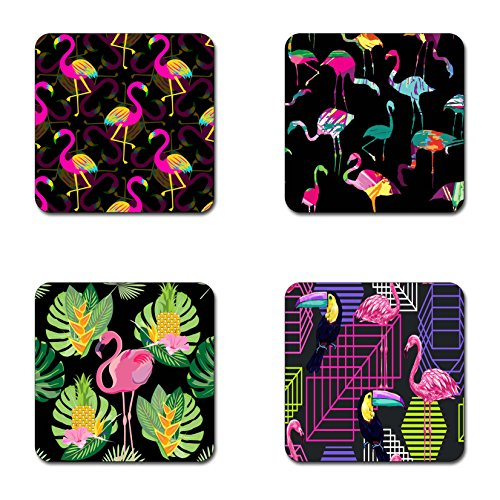 Flamingo Coasters - flamingo silhouette painting brash coasters- 4 inch diameter-Square - neoprene coasters- Eco-Friendly, Made From 100% Recycled Rubber(Set of 4 )