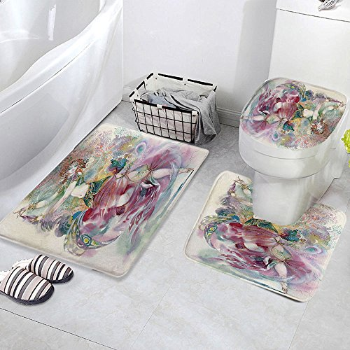 3 Piece Bath Mat Rug Set,Watercolor,Bathroom Non-Slip Floor Mat,Oriental-Dance-Theme-Young-Girl-Performing-in-Traditional-Costume-Fantasy-Figure,Pedestal Rug + Lid Toilet Cover + Bath Mat,Multicolor by iPrint (Image #2)