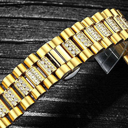 Luxury Men Automatic Mechanical Business Calendar Stainless Steel Military Rhinestone Waterproof Watch (Gold) by Fanmis (Image #5)