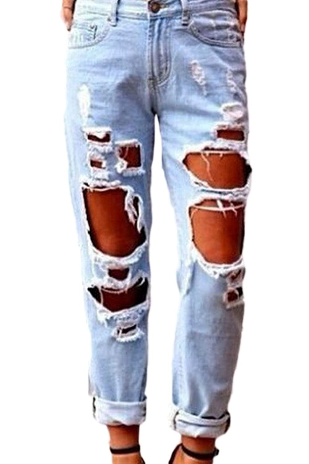 Women Getting Ripped Hole Cut Off Boyfriend Style Washed Jeans Pants CAAYFGE7