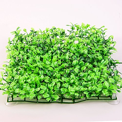 SLSON Aquarium Decorations Grass Artificial Plastic Lawn 9 inch Square Landscape Green Plants for Saltwater Freshwater Tropical Fish Tank Decoration,with 8 Pcs Suction Cups