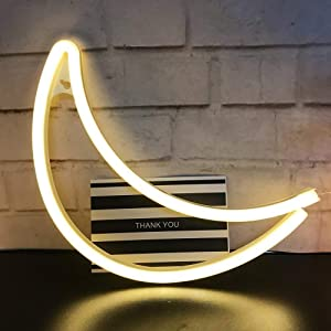 Led Neon Sign Art Decorative Lights Table Decoration Neon Lamp with Base,Moon Neon Night Light for Luau Summer Party Children Kids Gifts Wall Art Bedroom Home Accessories Holiday Decor Office(Moon)