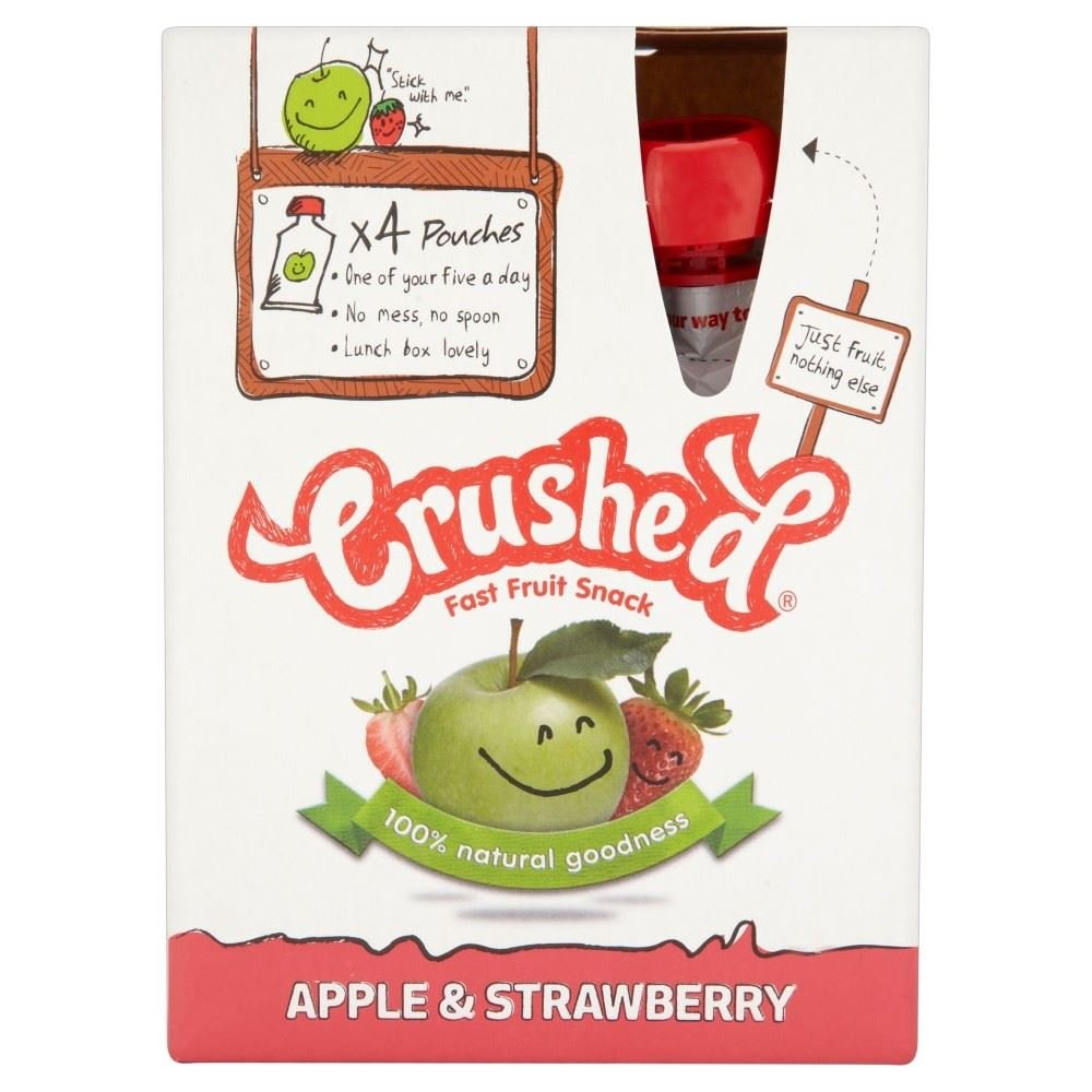 Crushed Apple & Strawberry Fast Fruit Snack (4x100g) - Pack of 2